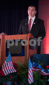 Smith County Judge Nathaniel Moran leads a prayer for local and national government during the 26th Annual Mayor's Prayer Breakfast held Thursday May 4, 2017 at Harvey Convention Center in Tyler. The event coincides with the National Day of Prayer and offers an opportunity for residents, area leaders and city officials to come together and pray for specific topics like unity, schools, and local and national government.  (Sarah A. Miller/Tyler Morning Telegraph)