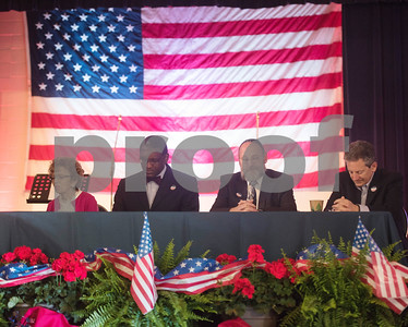 Pat Self, Carlton Oby, Rabbi Alan Learner and David Stein wait to lead prayers during the 26th Annual Mayor's Prayer Breakfast held Thursday May 4, 2017 at Harvey Convention Center in Tyler. The event coincides with the National Day of Prayer and offers an opportunity for residents, area leaders and city officials to come together and pray for specific topics like unity, schools, and local and national government.  (Sarah A. Miller/Tyler Morning Telegraph)