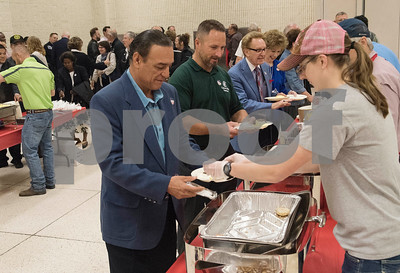 Breakfast is served during the 26th Annual Mayor's Prayer Breakfast held Thursday May 4, 2017 at Harvey Convention Center in Tyler. The event coincides with the National Day of Prayer and offers an opportunity for residents, area leaders and city officials to come together and pray for specific topics like unity, schools, and local and national government.  (Sarah A. Miller/Tyler Morning Telegraph)