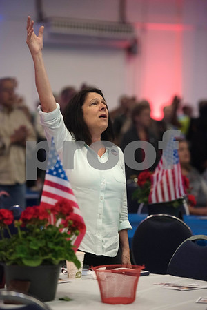 Judy Jaynes sings during the 26th Annual Mayor's Prayer Breakfast held Thursday May 4, 2017 at Harvey Convention Center in Tyler. The event coincides with the National Day of Prayer and offers an opportunity for residents, area leaders and city officials to come together and pray for specific topics like unity, schools, and local and national government.  (Sarah A. Miller/Tyler Morning Telegraph)