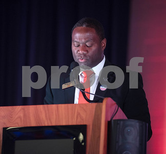 Dr. Michael Tidwell, president of the University of Texas at Tyler, leads a prayer for education during the 26th Annual Mayor's Prayer Breakfast held Thursday May 4, 2017 at Harvey Convention Center in Tyler. The event coincides with the National Day of Prayer and offers an opportunity for residents, area leaders and city officials to come together and pray for specific topics like unity, schools, and local and national government.  (Sarah A. Miller/Tyler Morning Telegraph)