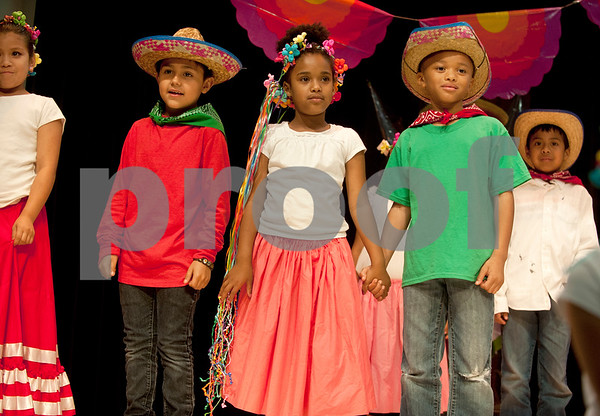 Students perform a Mexican song during the annual Cinco de Mayo program at Bonner Elementary Tuesday May 5. Students from the headstart program, pre-kindergarten, kindergarten, and first and second grades performed traditional Mexican dances and sang songs to celebrate the holiday.  (photo by Sarah A. Miller/Tyler Morning Telegraph)