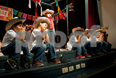 Students perform a song during the annual Cinco de Mayo program at Bonner Elementary Tuesday May 5. Students from the headstart program, pre-kindergarten, kindergarten, and first and second grades performed traditional Mexican dances and sang songs to celebrate the holiday.  (photo by Sarah A. Miller/Tyler Morning Telegraph)