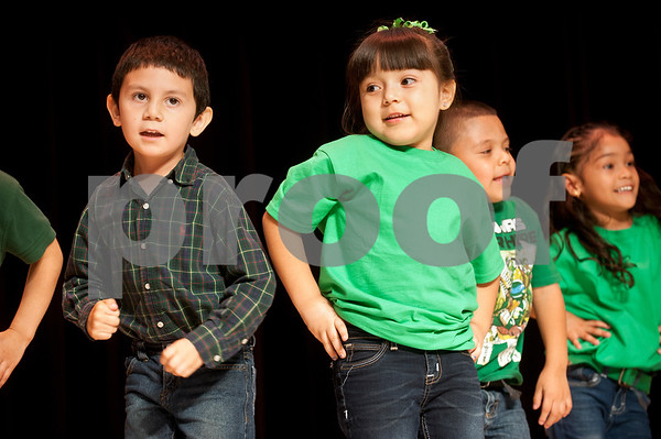 """Bonner students dance to """"El Baile de la Ranita"""" during the annual Cinco de Mayo program at Bonner Elementary Tuesday May 5. Students from the headstart program, pre-kindergarten, kindergarten, and first and second grades performed traditional Mexican dances and sang songs to celebrate the holiday.  (photo by Sarah A. Miller/Tyler Morning Telegraph)"""