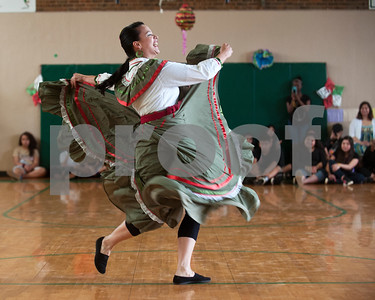 Alba Romero of Tyler performs a Mexican dance at Dogan Middle School during the Cinco de Mayo program held at the school in Tyler Friday May 8, 2015.   (photo by Sarah A. Miller/Tyler Morning Telegraph)