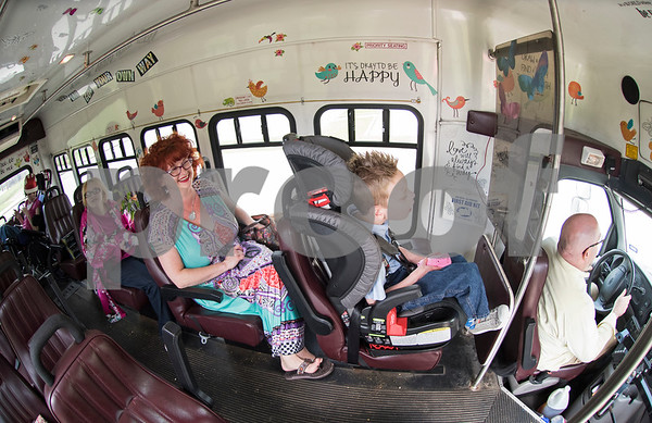 Robert Ogden drive his family's bus April 10, 2016. Robert and Jessica have a family of five including two adults with special needs and a special needs child. The whole family fits on the bus including Lulu in her wheelchair.  (Sarah A. Miller/Tyler Morning Telegraph)