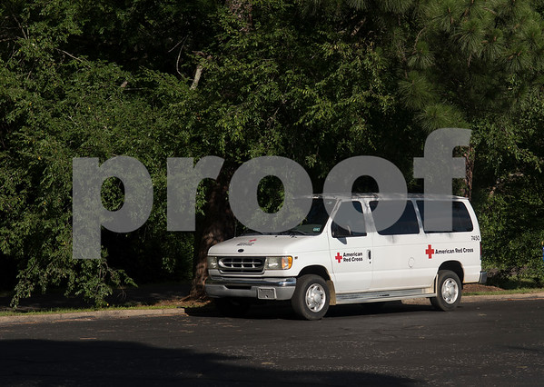 An American Red Cross van is parked outside of Pine Springs Church where a temporary shelter has been set up for people living in the effected area of the Tyler Welders Supply explosion in Tyler Tuesday June 13, 2017.  (Sarah A. Miller/Tyler Morning Telegraph)