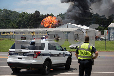 A fire burns during multiple explosions at Tyler Welders Supply in Tyler Tuesday June 13, 2017.  (Sarah A. Miller/Tyler Morning Telegraph)