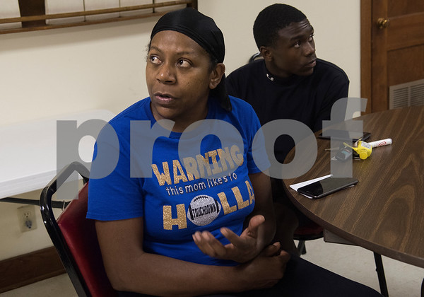 Jacqueline Ates-Biscoe shares her story of witnessing the Tyler Welders Supply explosion in Tyler Tuesday June 13, 2017. Ates-Biscoe, her son Arsheal, 15, and a neighboring couple went to the shelter at Pine Springs Baptist Church after witnessing the explosion from their homes.  (Sarah A. Miller/Tyler Morning Telegraph)