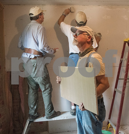 Volunteer Richard York helps builds a one of two new bedrooms to a home in Tyler on Monday June 18, 2018. The remodeling is part of the Mission Week ministry. The home was 480 square feet but will gain an additional 380 square feet.  (Sarah A. Miller/Tyler Morning Telegraph)