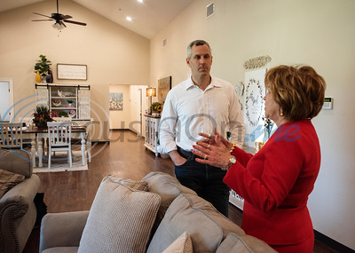 District 6 State Rep. Matt Schaefer (R-Tyler), speaks with Breckenridge Village of Tyler Associate Executive Director of Advancement Linda Taylor on Wednesday June 19, 2019 about the passage of HB 3117 that will help facilities that serve individuals with intellectual and developmental disabilities such as Breckenridge Village to more easily gain licenses. Currently Breckenridge Village of Tyler has two vacant buildings that can house six residents each. The buildings have been vacant because they each need a separate license for residents to move in. There is a waiting list of about 80 people who are interested in becoming residents.  (Sarah A. Miller/Tyler Morning Telegraph)