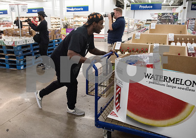 Deion Sanders Jr., son of Pro Football Hall of Famer Deion Sanders, participates in a shopping spree at Sam's Club in Tyler Tuesday June 20, 2017. The goal of the event was to collect up to $10,000 in merchandise in two minutes or less to provide relief to the victims of the Canton area tornadoes April 29, 2017.  (Sarah A. Miller/Tyler Morning Telegraph)