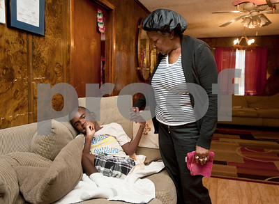 photo by Sarah A. Miller/Tyler Morning Telegraph   Pictured April 9, 2013, Polly Jackson, 75, talks to her great grandson Keveonte Bradford, 14, who is homebound from cerebral palsy and other medical issues.