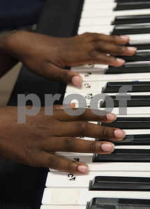 Aaron McCorvey, 10, plays a keyboard at Debbie's Music Academy Camp held Wednesday June 21, 2017 at the Glass Recreation Center.   (Sarah A. Miller/Tyler Morning Telegraph)
