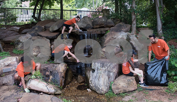 Volunteers pull weeds at The Children's Park in Tyler Friday June 23, 2017 for the United Way's Day of Caring.  (Sarah A. Miller/Tyler Morning Telegraph)
