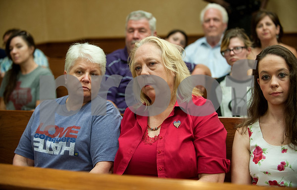 Tyler residents D. Karen Wilkerson and her partner Jolie Smith Smith County Clerk Karen Phillips at a press conference Friday. Phillips stated that the county will not yet legalize gay marriage.   (photo by Sarah A. Miller/Tyler Morning Telegraph)