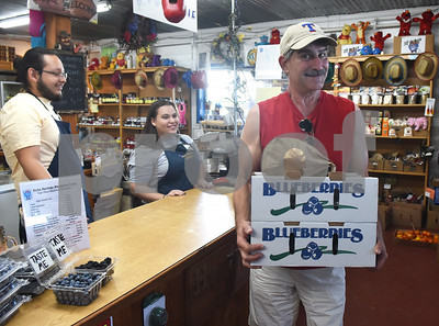 Tim Tyndell of Flint buys pre-packaged blueberries from the store at Echo Springs Blueberry Farm in Brownsboro Friday June 24, 2016.   (Sarah A. Miller/Tyler Morning Telegraph)