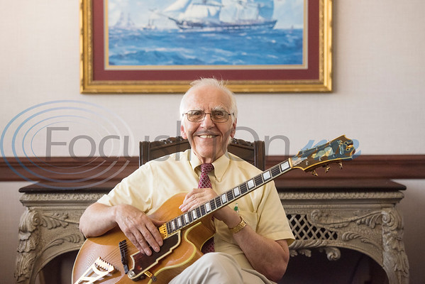 Professor of Music Franklin Kimlicko with his D'Angelico guitar at Tyler Junior College in Tyler, Texas, on Thursday, May 17, 2018. There were only 1,000 D'Angelico guitars made. (Chelsea Purgahn/Tyler Morning Telegraph)