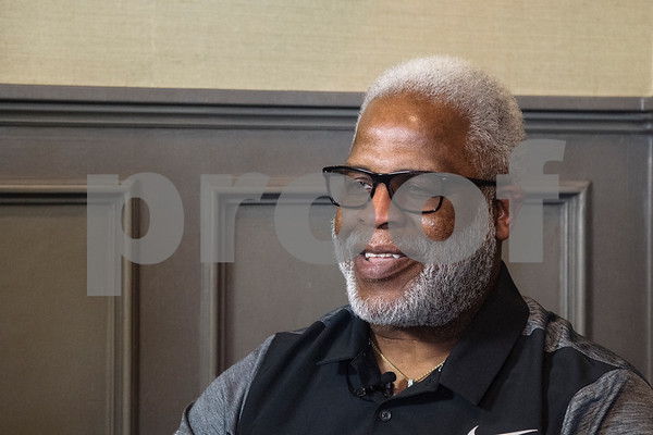 Earl Campbell speaks to the media about the fourth annual Earl Campbell Tyler Rose Academic Scholarship Award.  (Sarah A. Miller/Tyler Morning Telegraph)