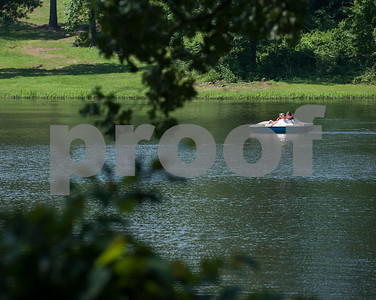 Girls use a paddle boat at Girls in Action camp at Timberline Camp in Lindale Thursday June 9, 2016. Girls in Action and is a missions discipleship organization for girls in first through sixth grades.  (Sarah A. Miller/Tyler Morning Telegraph)