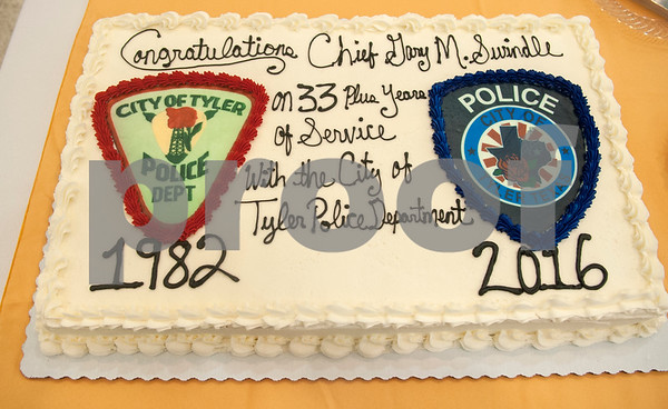 A cake honors Tyler Police Chief Gary Swindle at his retirement ceremony Thursday June 9, 2016 at Marvin Methodist Church. Swindle started as a patrol officer in 1982 was chief from 2000-2016.  (Sarah A. Miller/Tyler Morning Telegraph)