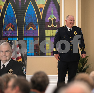 Tyler Police Chief Gary Swindle is honored at his retirement ceremony Thursday June 9, 2016 at Marvin Methodist Church. Swindle started as a patrol officer in 1982 was chief from 2000-2016.  (Sarah A. Miller/Tyler Morning Telegraph)