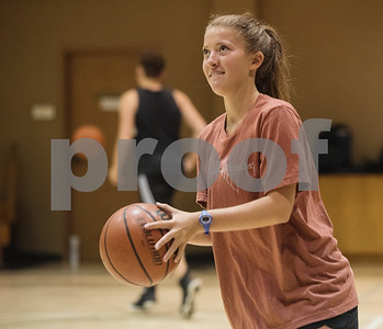 Hannah Burkes of Grace Community School participates in the Backcourt Basketball Skills Camp held at First Christian Church in Tyler on Tuesday July 10, 2018. The three day camp focuses on techniques and skills to help basketball players improve.    (Sarah A. Miller/Tyler Morning Telegraph)