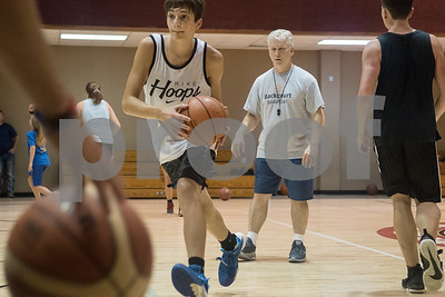 Burent Jolly of Old Bethel Christian Academy in Louisiana participates in a drill at the Backcourt Basketball Skills Camp held at First Christian Church in Tyler on Tuesday July 10, 2018. The three day camp focuses on techniques and skills to help basketball players improve.    (Sarah A. Miller/Tyler Morning Telegraph)