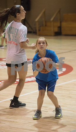 Students learn new skills at the Backcourt Basketball Skills Camp held at First Christian Church in Tyler on Tuesday July 10, 2018. The three day camp focuses on techniques and skills to help basketball players improve.    (Sarah A. Miller/Tyler Morning Telegraph)