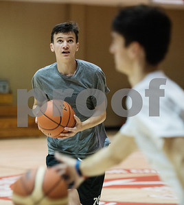 Ben Wages of Niches High School participates in a drill at the Backcourt Basketball Skills Camp held at First Christian Church in Tyler on Tuesday July 10, 2018. The three day camp focuses on techniques and skills to help basketball players improve.    (Sarah A. Miller/Tyler Morning Telegraph)