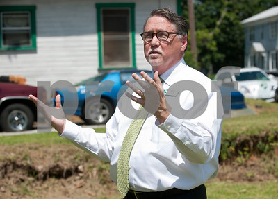 Greg Grubb, executive director of PATH in talks about PATH's transitional housing program before a ribbon cutting ceremony Wednesday at their 54th house built in Tyler.  (photo by Sarah A. Miller/Tyler Morning Telegraph)