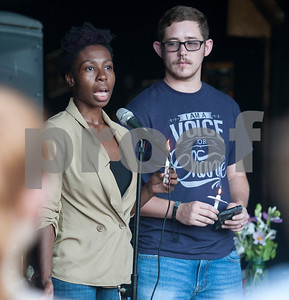 Erricka Bailey and Wyatt Almedia speak during the Vigil for Freedom hosted by  My African American Mothers' Alliance in Tyler Tuesday July 12, 2016. The event honored the lives of African Americans and Hispanic people killed by police as well as honoring members of the LBGT community who have died and the five law enforcement officers killed in Dallas during a peaceful protest.   (Sarah A. Miller/Tyler Morning Telegraph)