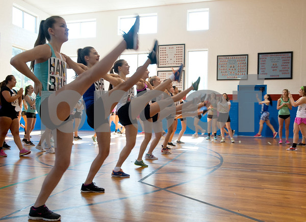 Rangerette hopefuls practice for tryouts for the Kilgore College Rangerettes Wednesday July 15, 2015. Over 90 hopefuls attended practices this week at the Rangerette Gym in Kilgore, Texas leading up to team tryouts Thursday. The Rangerettes is a dancing drill team started in 1940 to perform at football games during halftime. Girls will find out if they made the team Friday.   (photo by Sarah A. Miller/Tyler Morning Telegraph)