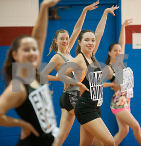 Maddie Minser, 18, of Whitehouse, third from left, strikes a pose during practice for tryouts for the Kilgore College Rangerettes Wednesday July 15, 2015. Over 90 hopefuls attended practices this week at the Rangerette Gym in Kilgore, Texas leading up to team tryouts Thursday. The Rangerettes is a dancing drill team started in 1940 to perform at football games during halftime. Girls will find out if they made the team Friday.   (photo by Sarah A. Miller/Tyler Morning Telegraph)