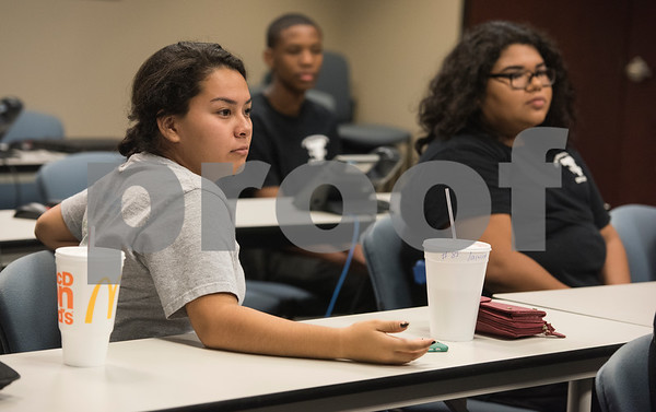 Vanessa Tiscareno, 16, of Tyler, asks a question during the Tyler Police Department's Explorer Post No. 310 meeting June 28, 2017. The program meets every Tuesday and allows students to explore careers in law enforcement.  (Sarah A. Miller/Tyler Morning Telegraph)