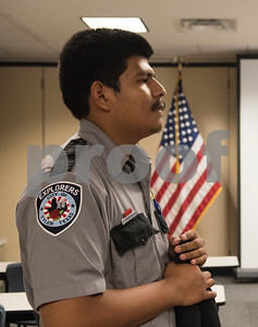 Edvin Gutierrez, 19, of Tyler, listens to instructions during the Tyler Police Department's Explorer Post No. 310 meeting June 28, 2017. The program meets every Tuesday and allows students to explore careers in law enforcement.  (Sarah A. Miller/Tyler Morning Telegraph)