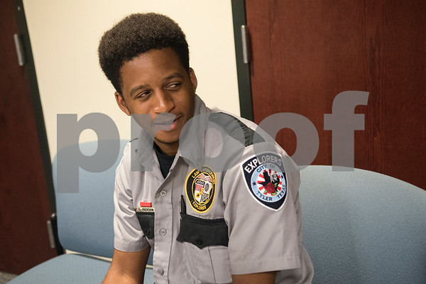 Chris Jackson of Tyler, 17, attends the Tyler Police Department's Explorer Post No. 310 meeting June 28, 2017. Jackson has been involved with the program for three years.   (Sarah A. Miller/Tyler Morning Telegraph)