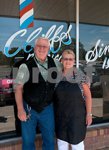 photo by Sarah A. Miller/Tyler Morning Telegraph  Tyler barbers Cliff Lasseter, 69, and his wife Becky Lasseter, 58, are the faces of Cliff's Precision Kuts in Tyler. Lasseter has been a licensed barber since 1962  and opened Cliff's Precision Kuts in 1968.