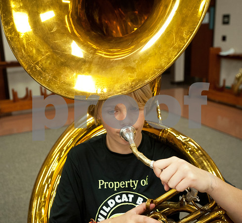 Winona Wildcat Band freshman Alanis Harris, 14, plays a sousaphone during pre-camp Friday at Winona High School. Marching band camp officially starts Monday, but the Winona band got a head start learning their music this week.  (photo by Sarah A. Miller/Tyler Morning Telegraph)