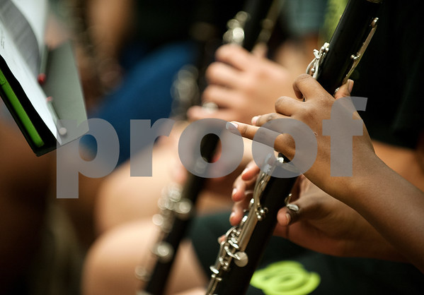 Winona Wildcat Band senior Te'Yonna Norgaisse plays the clarinet during pre-camp Friday at Winona High School. Marching band camp officially starts Monday, but the Winona band got a head start learning their music this week.  (photo by Sarah A. Miller/Tyler Morning Telegraph)