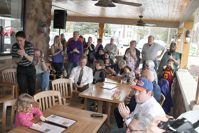 LAWRENCE PANTAGES / GAZETTE More than 25 people surprised retired Cavaliers radio announcer Joe Tait on Saturday with an 80th birthday party at Samosky's restaurant in Valley City in Liverpool Township.