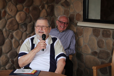 LAWRENCE PANTAGES / GAZETTE Retired Cavaliers radio announcer Joe Tait says thanks to dozens of well-wishers who surprised him with an 80th birthday party on Saturday at Samosky's restaurant in Valley City in Liverpool Township. Behiind Tait is WTAM broadcaster Mike Snyder.