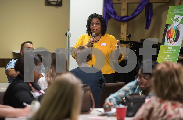 Tecora Smith, NET Health WIC Director, speaks at the first community-wide meeting of the Smith County Food Security Council on Monday, August 13, 2018 at Marvin United Methodist Church in Tyler. The new group aims to bring together people from across the community to reduce hunger and improve health.   (Sarah A. Miller/Tyler Morning Telegraph)