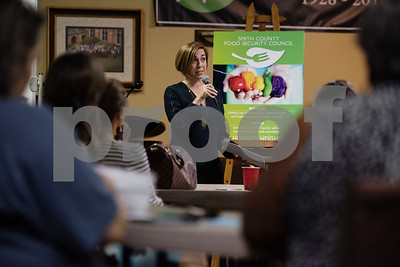 Pediatrician Valerie Smith speaks at the first community-wide meeting of the Smith County Food Security Council on Monday, August 13, 2018 at Marvin United Methodist Church in Tyler. The new group aims to bring together people from across the community to reduce hunger and improve health.   (Sarah A. Miller/Tyler Morning Telegraph)