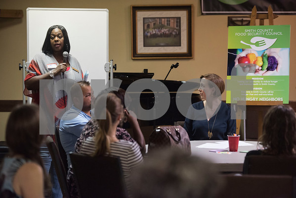 Cindy Ross of the Children's Defense Fund speaks at the first community-wide meeting of the Smith County Food Security Council on Monday, August 13, 2018 at Marvin United Methodist Church in Tyler. The new group aims to bring together people from across the community to reduce hunger and improve health.   (Sarah A. Miller/Tyler Morning Telegraph)
