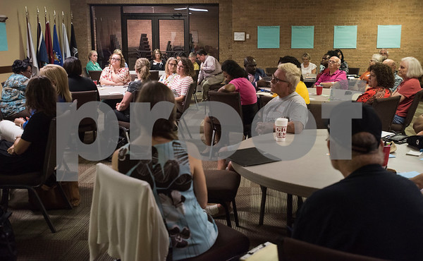 People attend the first community-wide meeting of the Smith County Food Security Council on Monday, August 13, 2018 at Marvin United Methodist Church in Tyler. The new group aims to bring together people from across the community to reduce hunger and improve health.   (Sarah A. Miller/Tyler Morning Telegraph)