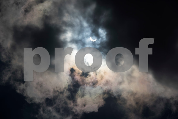 The partial solar eclipse is seen over Tyler, Texas from the Fair Plaza Parking Garage Monday Aug. 21, 2017.  (Sarah A. Miller/Tyler Morning Telegraph)