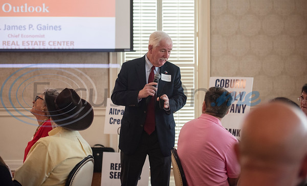 Dr. Jim Gaines, Chief Economist at the Real Estate Center at Texas A&M University, speaks on the Texas economy and the housing outlook for 2019 during the Tyler Area Builders Association Government Officials Appreciation Luncheon held at Willow Brook Country Club on Wednesday Aug. 28, 2019.  (Sarah A. Miller/Tyler Morning Telegraph)