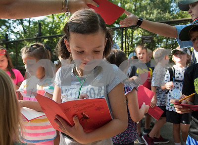 Caroline Fox, 8, writes in her zoo observation journal during summer camp at the Caldwell Zoo on Friday Aug. 3, 2018.  (Sarah A. Miller/Tyler Morning Telegraph)