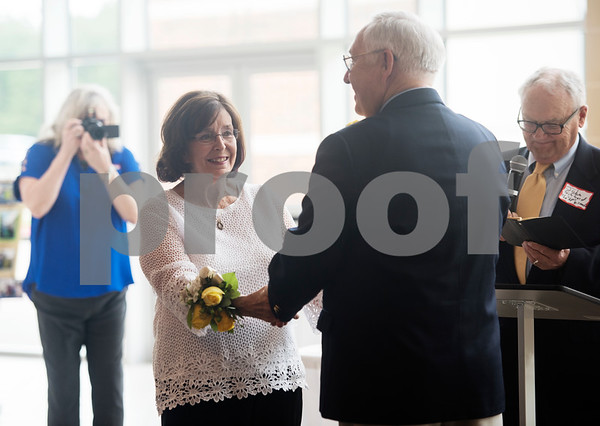 Pastor John Gifford conducts a 50th wedding anniversary vow renewal ceremony for Judy and W.H. Harbour of Tyler at Green Acres Baptist Church on Saturday Aug. 4, 2018. Gifford married the Harbors on Aug. 3, 1968 in Norman, Oklahoma, and it was his first time officiating a wedding.    (Sarah A. Miller/Tyler Morning Telegraph)